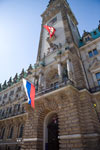 Russia's national flag hoisted over Town hall of Hamburg